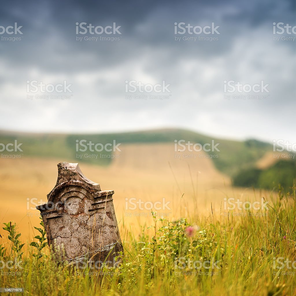 broken tombstone royalty-free stock photo