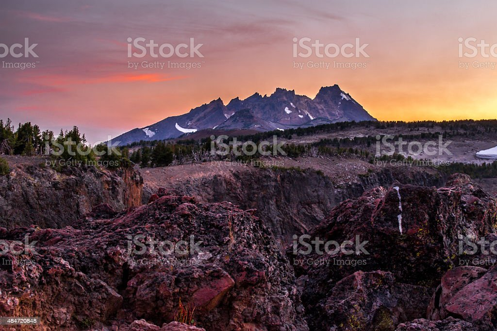 Broken Top, Oregon, at Sunset stock photo