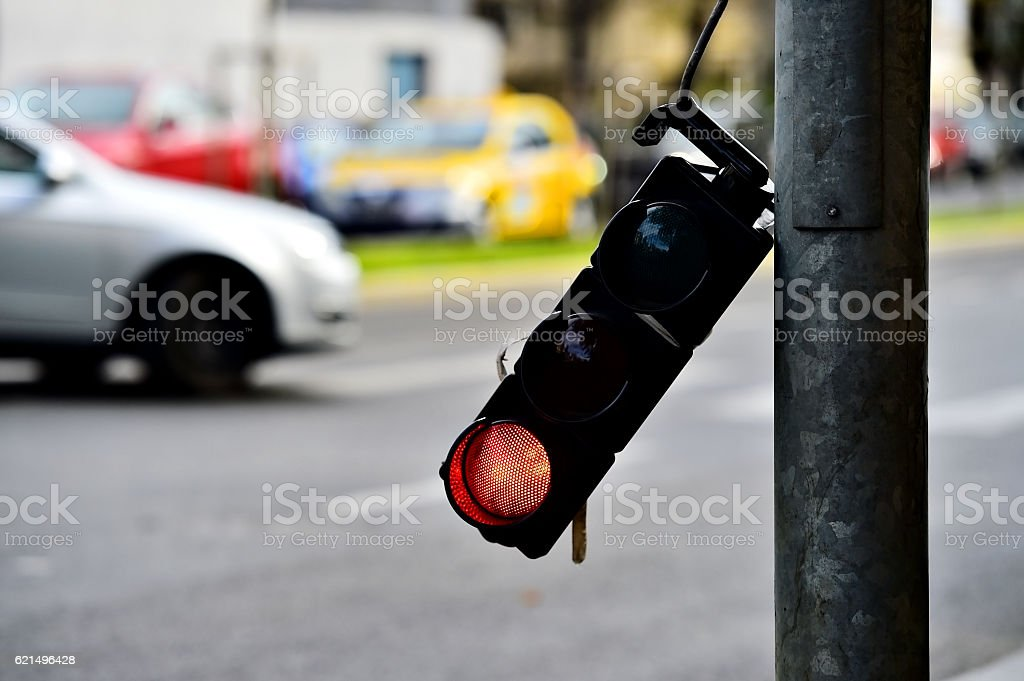 Broken traffic lights pole photo libre de droits