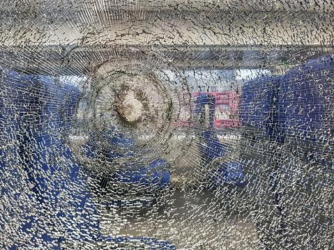 Broken train window