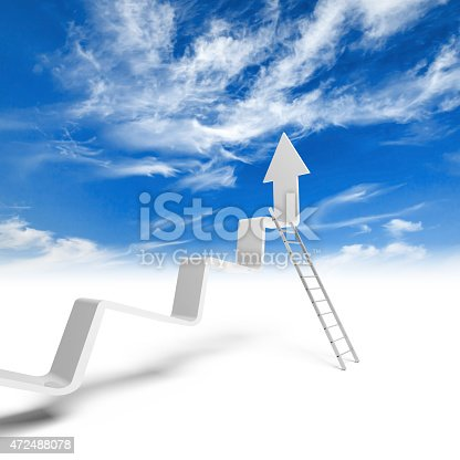 1062884120istockphoto Broken trend line with arrow on end and metal ladder 472488078