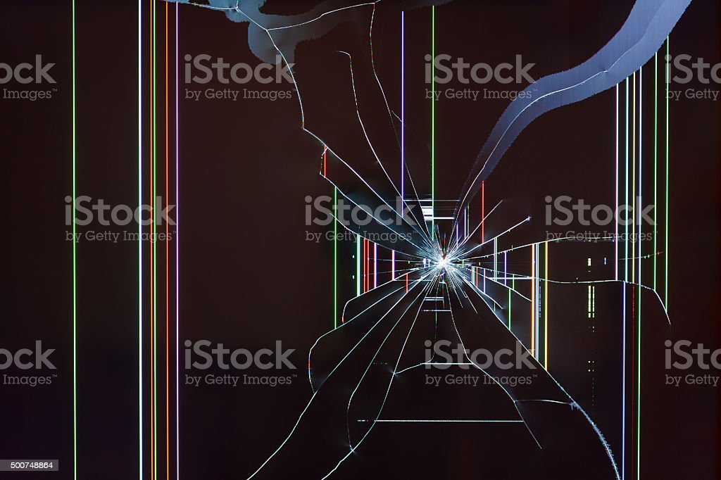 Broken TV LED screen royalty-free stock photo