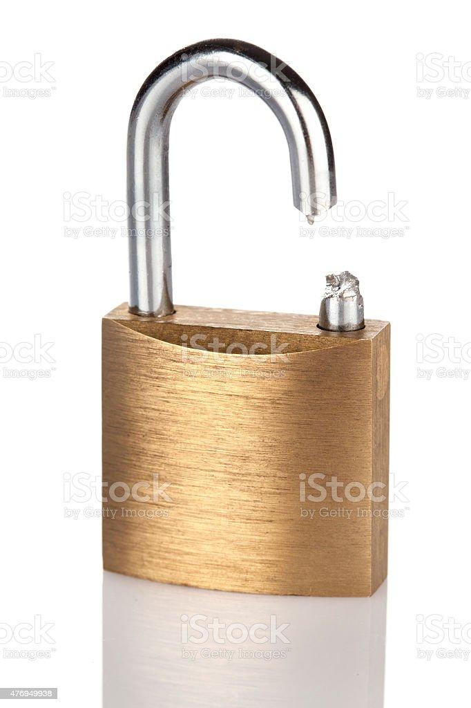 Broken up padlock stock photo