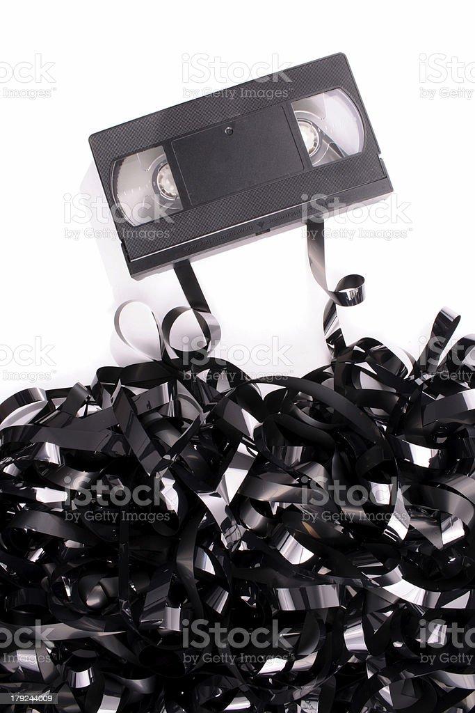 Broken video tape stock photo