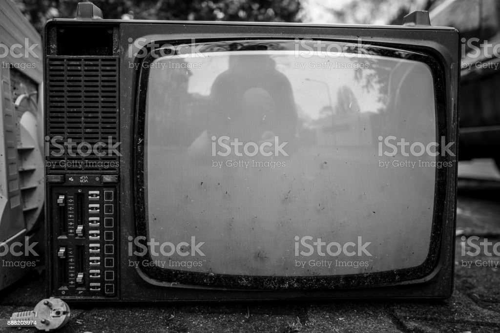 Broken vintage TV stock photo