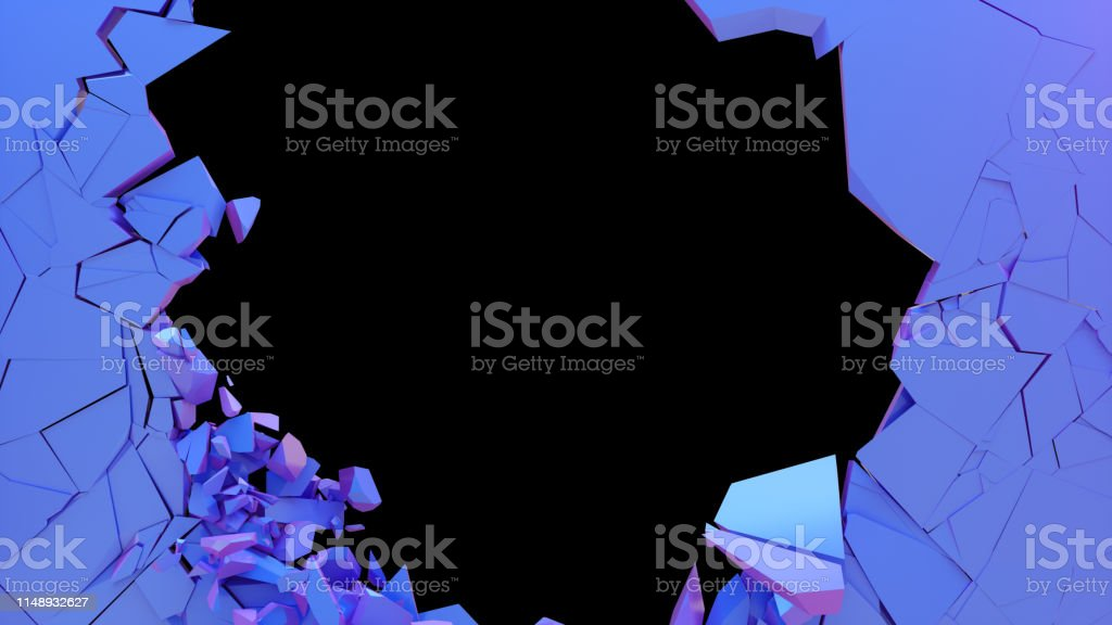 Broken wall dark pastel-violet color. Wall shatters into thousands of...