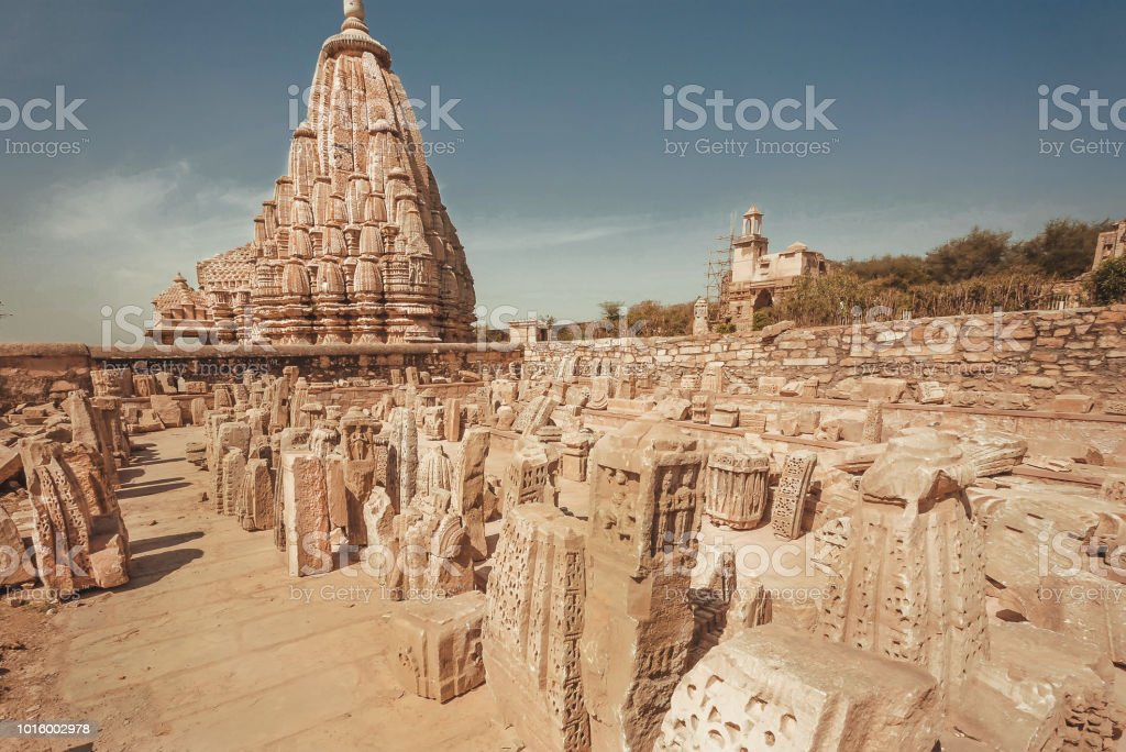 Broken walls of Hindu temples and saved tower on area of historical Chitaurgarh fort. Rajasthan. UNESCO world heritage site in India stock photo
