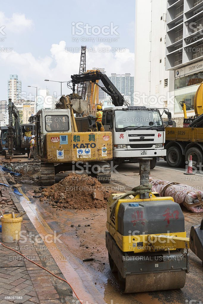 Broken Water Pipe in Hong Kong royalty-free stock photo