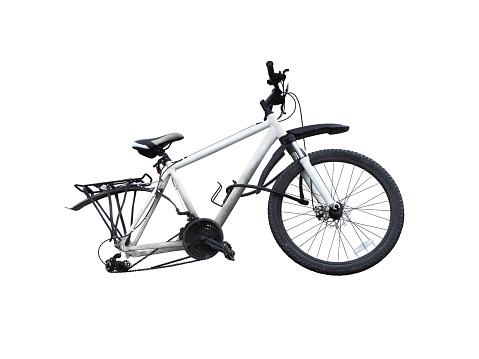 Broken white bike without wheel isolated on white background. Wheeless bike. Crash bicycle