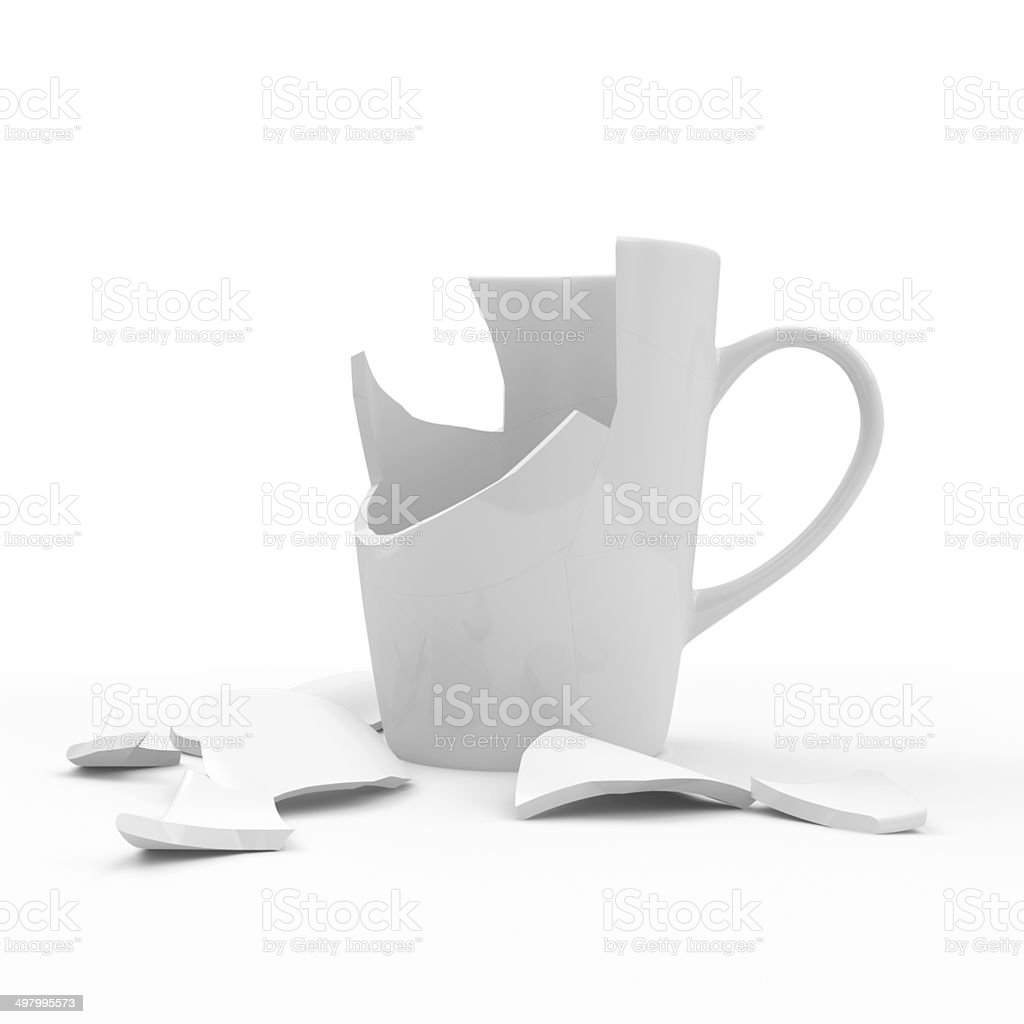 Broken weiße Kaffeetasse isoliert auf weißem Hintergrund – Foto