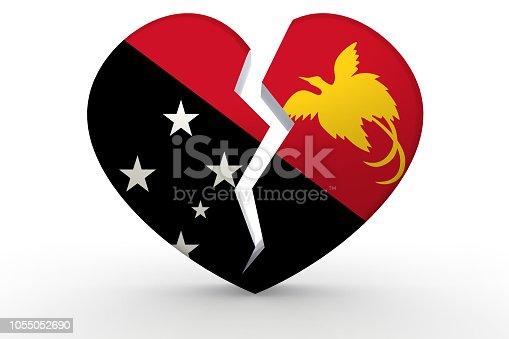 istock Broken white heart shape with Papua New Guinea flag, 1055052690