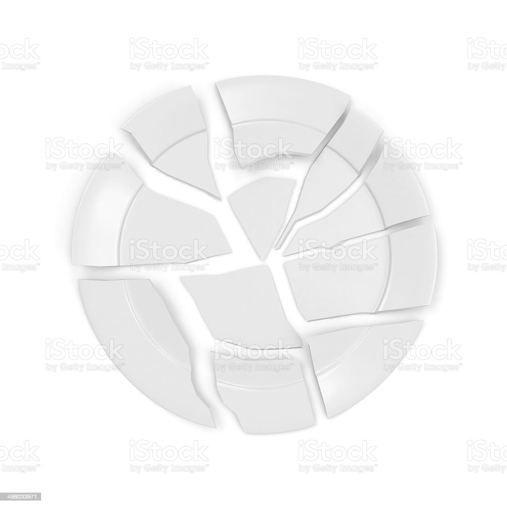 Broken white plate isolated on white background stock photo