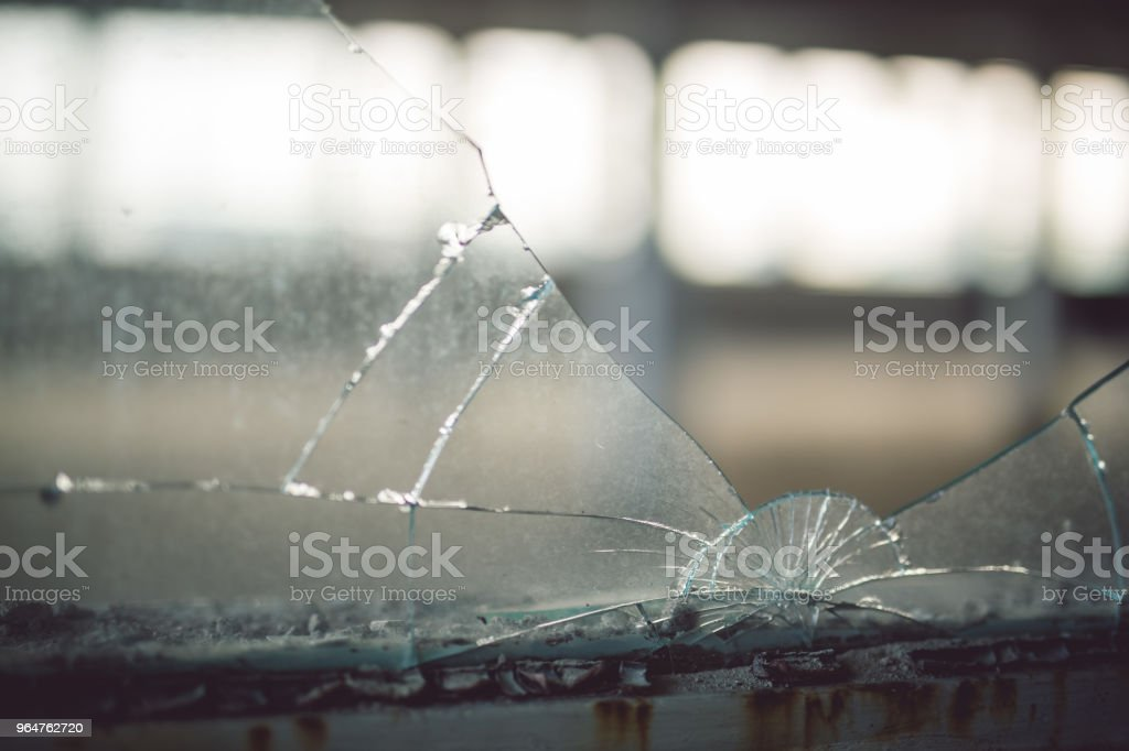 Broken window closeup royalty-free stock photo