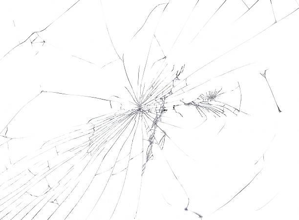 Broken Window Cutout stock photo