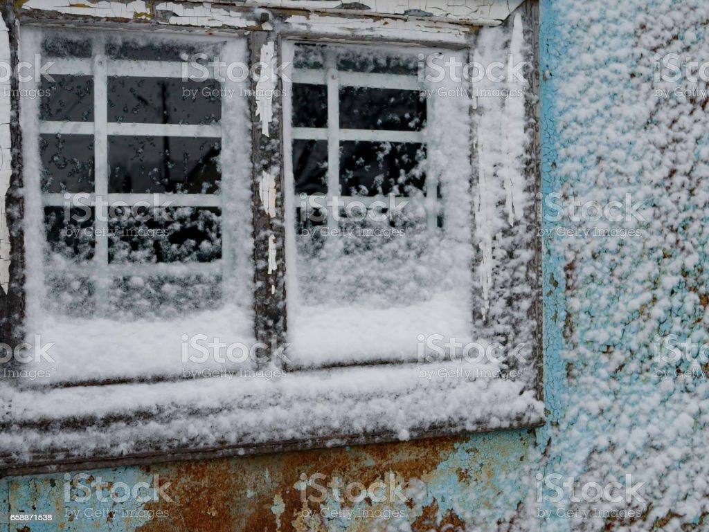 Broken Window, Old Fashioned Winter stock photo