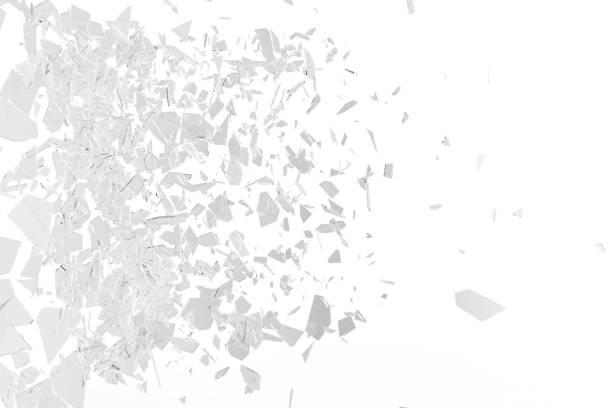 Broken window pane or front door glass background. Broken glass background isolated on white. 3d rendering stock photo