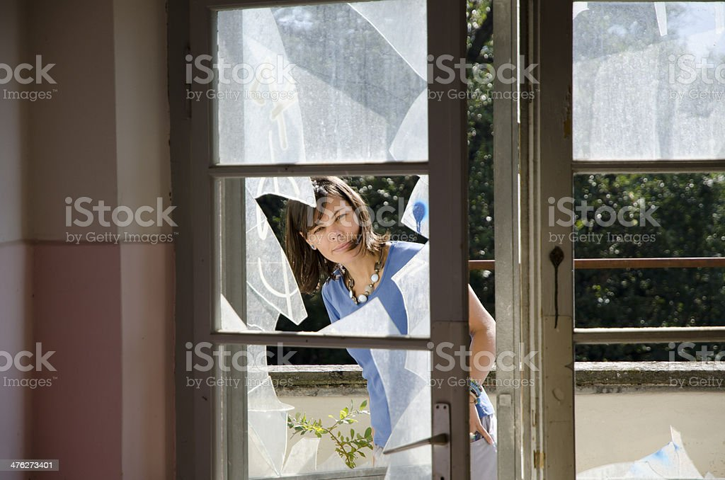 Broken window stock photo