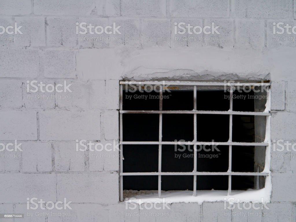 Broken Window, Winter Scene stock photo