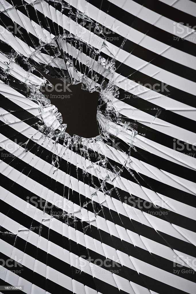 Broken window with interesting pattern royalty-free stock photo