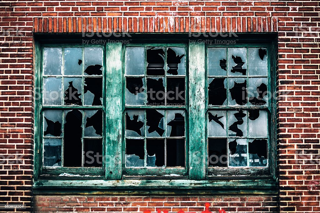 Broken windows. stock photo