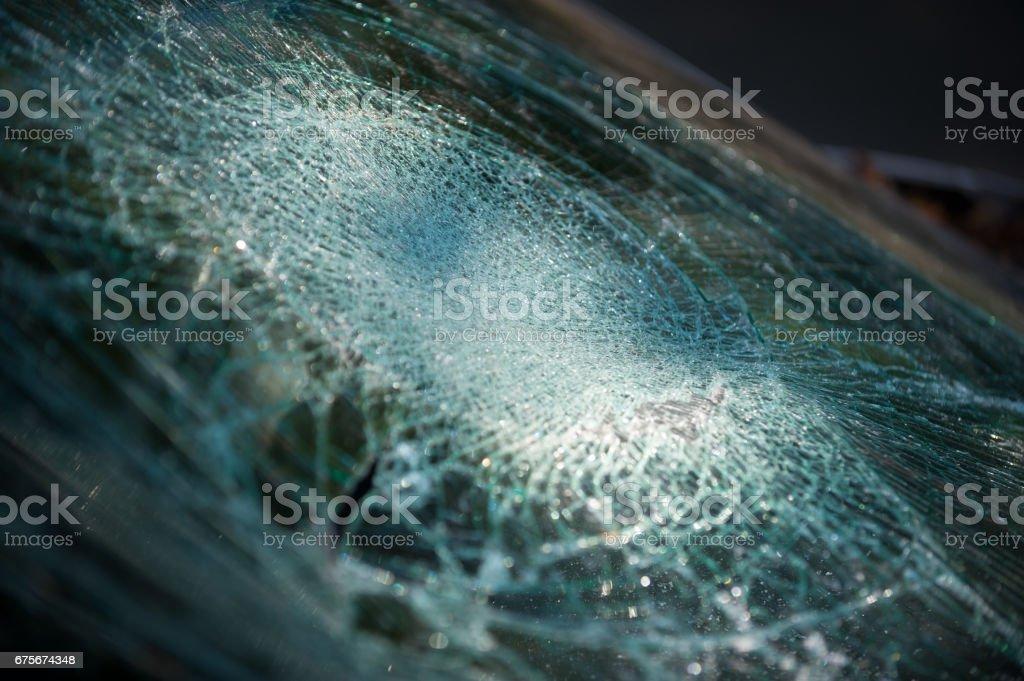 Broken windshield, abandoned car royalty-free stock photo