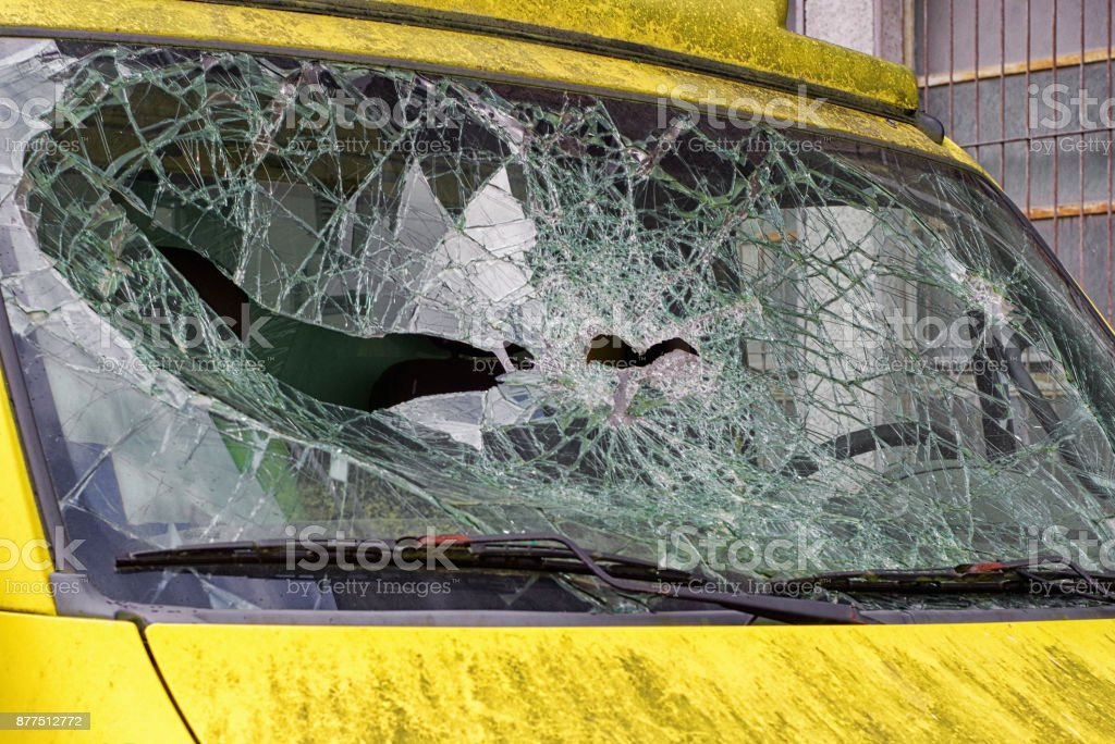 Broken windshield. Car accident stock photo