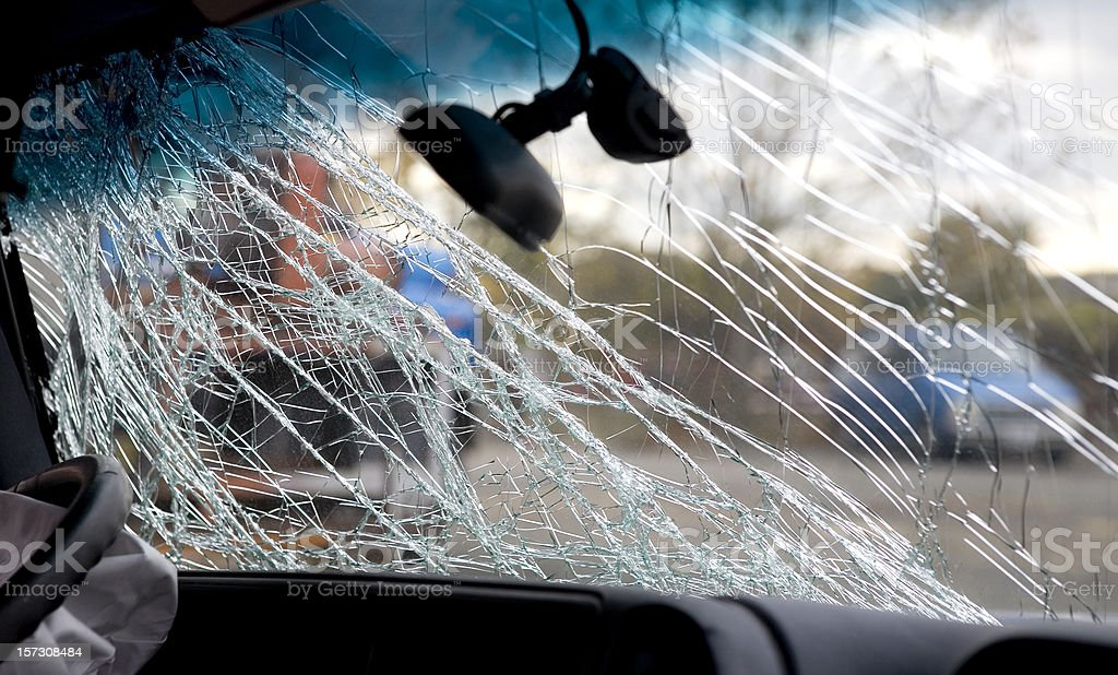 Broken Windshield Car Crash Drunk Driving Accident stock photo