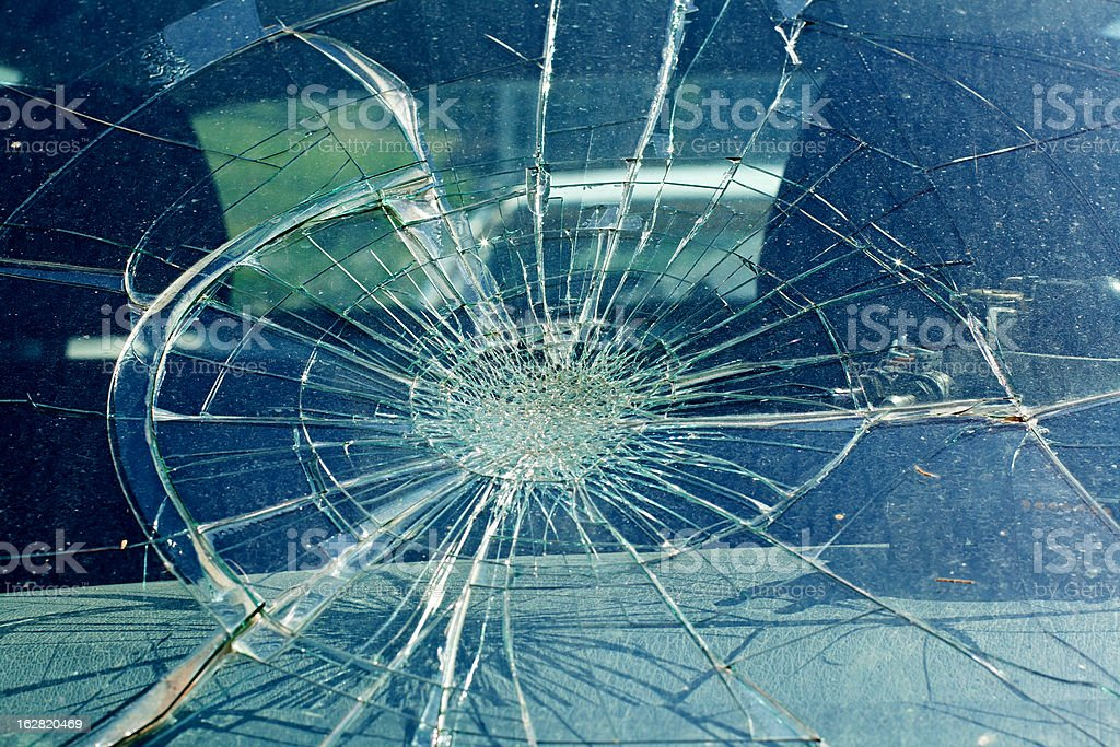 Broken windshield in the car accident stock photo