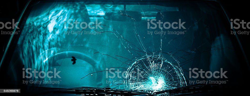 Broken Windshield of a car stock photo