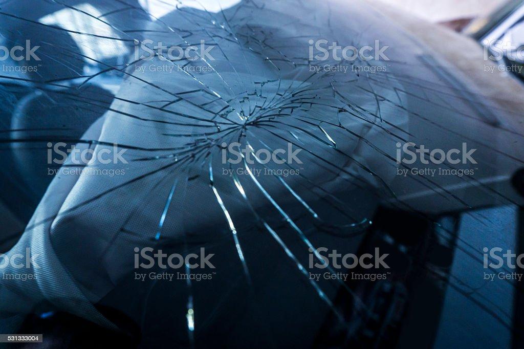 Broken Windshield stock photo