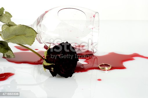 istock Broken wineglass after an argument 471663306