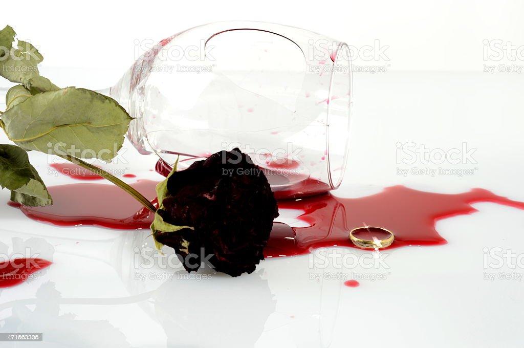 Broken wineglass after an argument stock photo