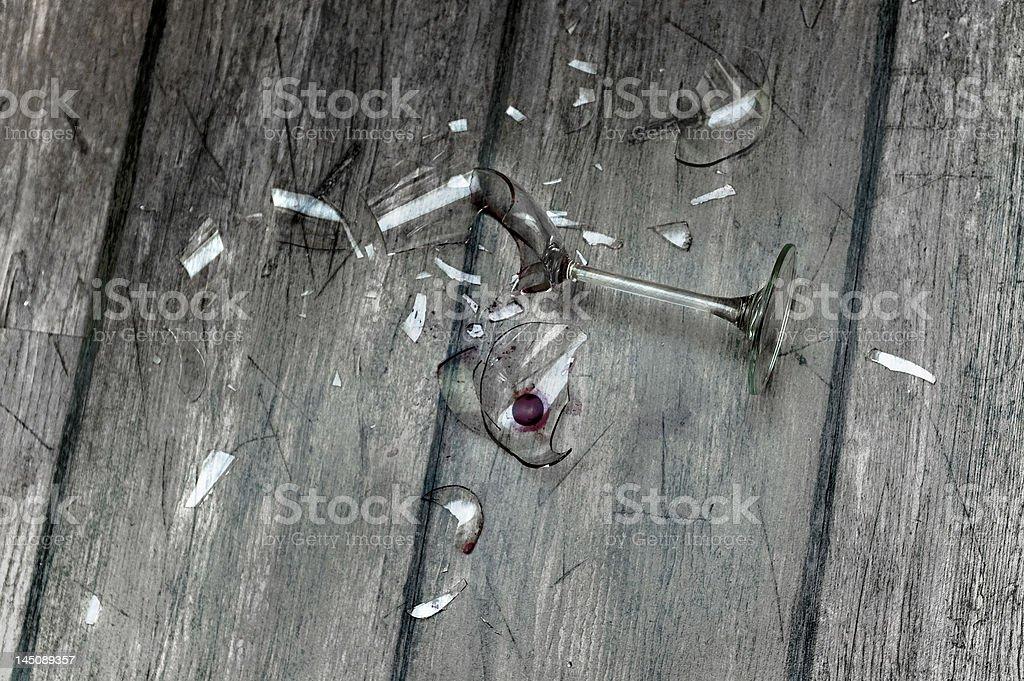 Broken wineglass stock photo