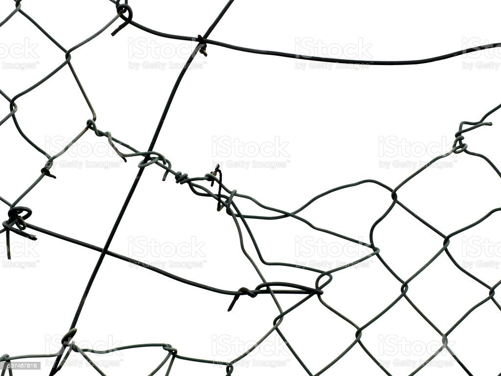 Broken Wire Fence Isolated On White Background Stock Photo & More ...