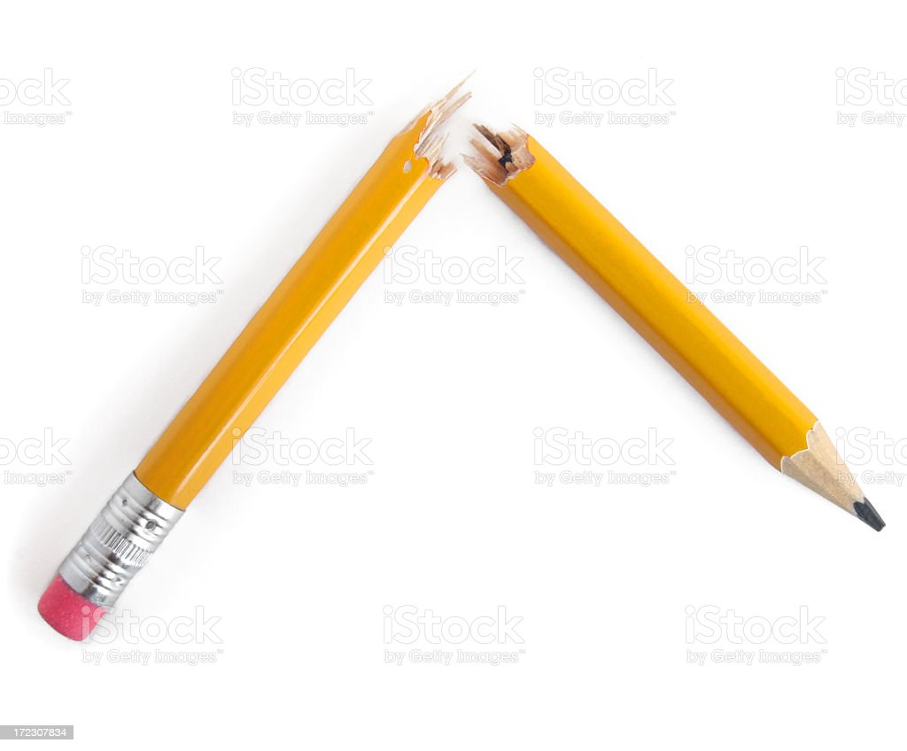 Broken yellow pencil with eraser on white background stock photo