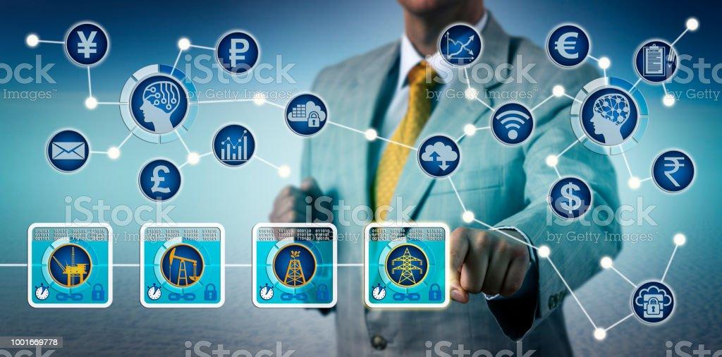 Broker Trading Electricity Via Blockchain And IoT stock photo