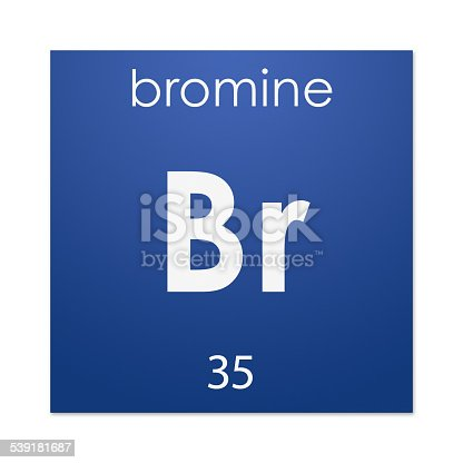 Gloss coloured tile with name, symbol and atomic number - or number of protons - of the chemical element Bromine.