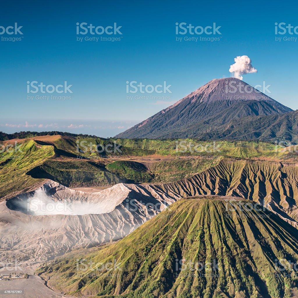 Bromo and Semeru volcanoes in Indonesia stock photo
