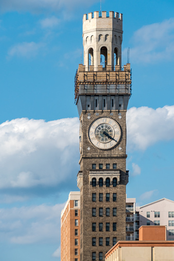 Emerson Tower often referenced as Emerson Bromo-Seltzer Tower or the Bromo Tower is a 15-story, landmark 88 m clock tower erected in 1907-1911 at 21 South Eutaw Street, at the northeast corner of Eutaw and West Lombard Streets in downtown Baltimore, Maryland