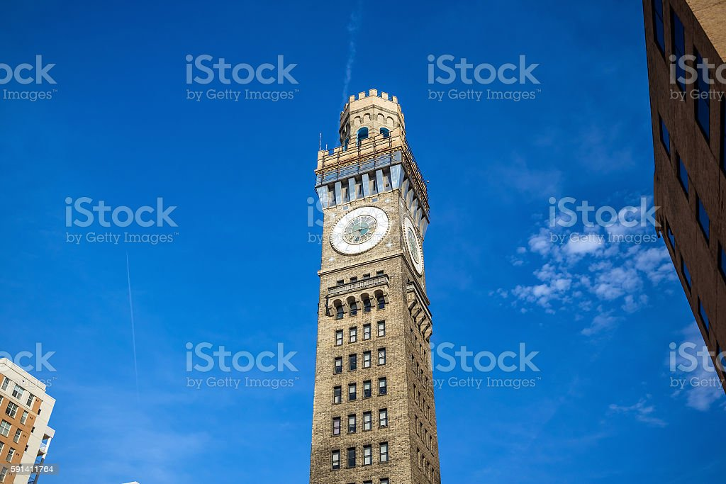 Bromo Seltzer Tower in downtown Baltimore stock photo
