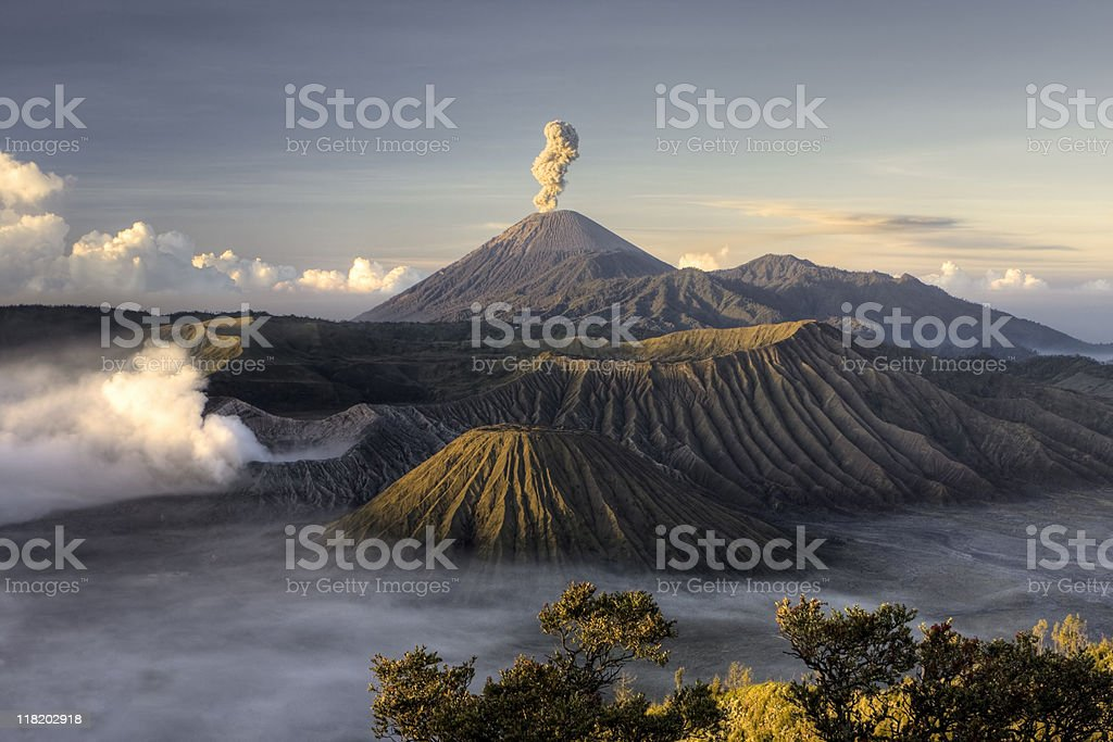 Bromo volcano after eruption royalty-free stock photo