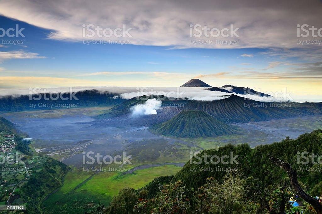 Bromo volcano after eruption stock photo