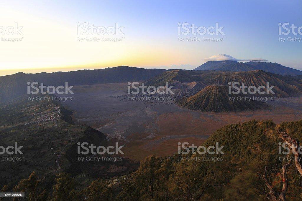 Bromo volcano at sunrise, Java, Indonesia stock photo