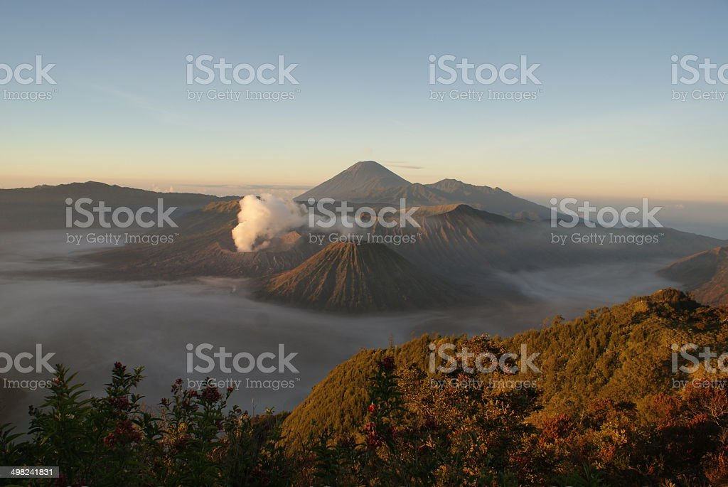 Bromo volcano at sunrise, Java, Surabaya, Indonesia stock photo