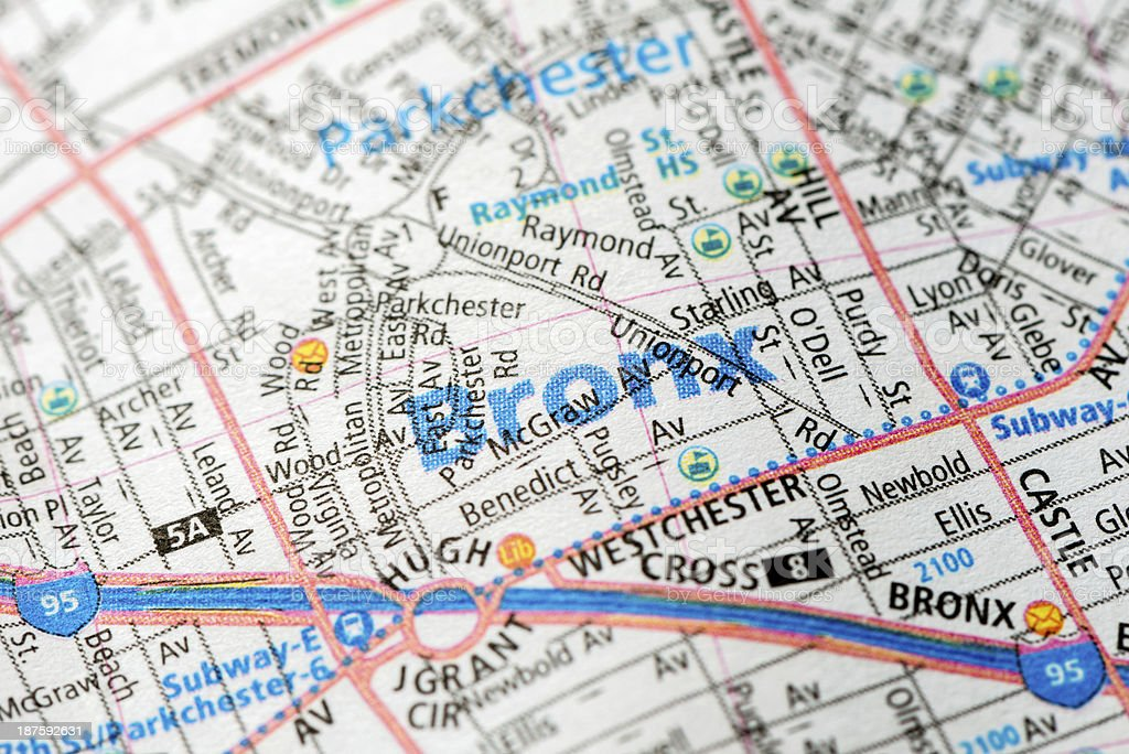 Bronx - New York map detail stock photo