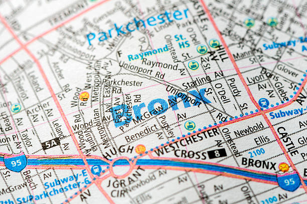Bronx - New York map detail stock photo