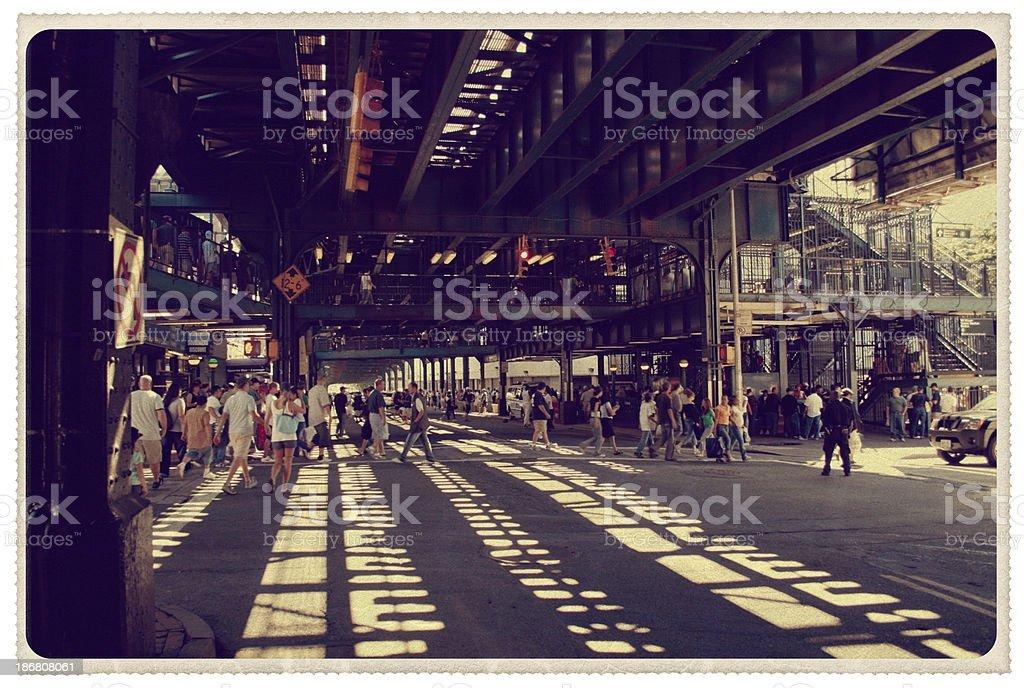Bronx, New York Street Corner - Vintage Postcard royalty-free stock photo