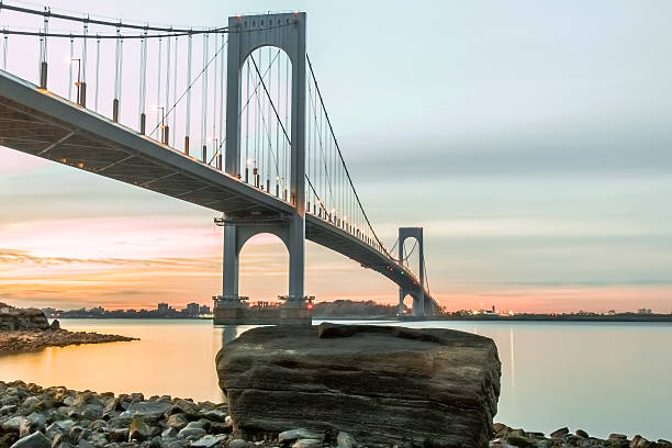 Bronx Whitestone bridge at dusk stock photo