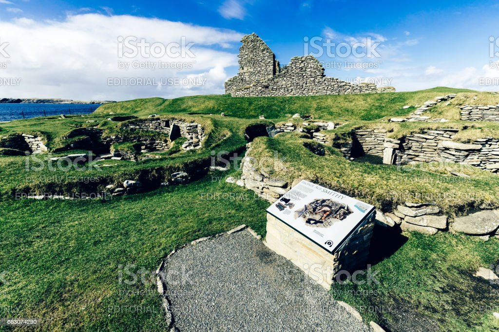 Bronze age site at Jarlshof, Shetland Islands, Scotland foto de stock royalty-free
