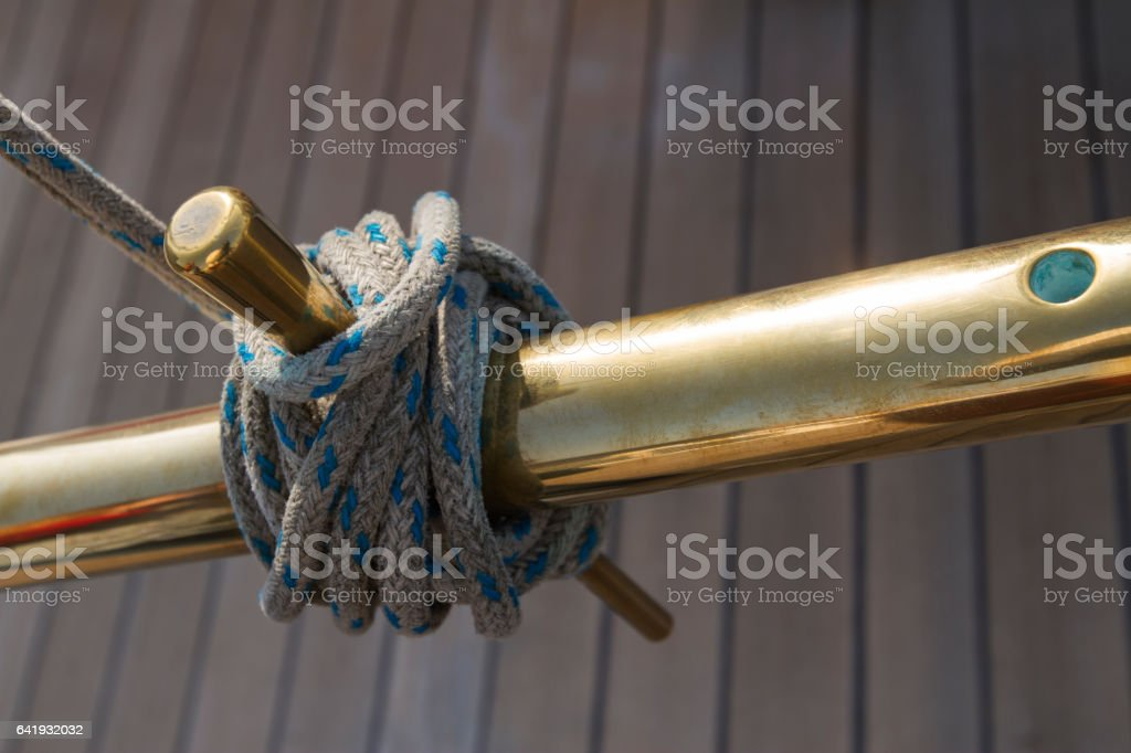 Bronze anchorage with hawser on a luxurious yacht stock photo